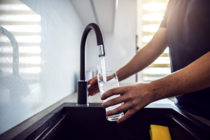 Clean drinking water from a sink faucet in Joliet, Illinois