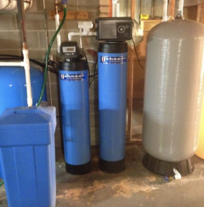 Water softening system installed in a Buffalo Grove basement